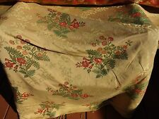 Vintage Upholstery Fabric 4.75 yds Red Orange Floral on Tan Check Heavy