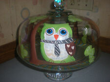 HAND PAINTED OWLS SITTING IN A TREE  CAKE PLATE/PUNCH BOWL(MADE IN THE USA)