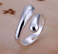 925 Silver Adjustable tear Water Drop Ring Women Jewellery thumb droplet wrap UK