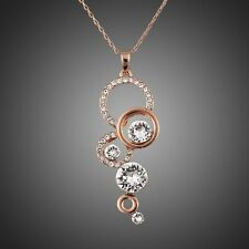 Rose Gold Plated Sparkly Round White Zircon Rhinestones Chain Necklace Pendant