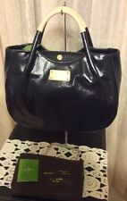 AUTHENTIC NWT KATE SPADE FULTON STREET TREESH NAVY COATED CANVAS AND LEATHER BAG