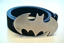 Fancy dress BATMAN big buckle black leather belt (POLISHED CHROME SILVER)