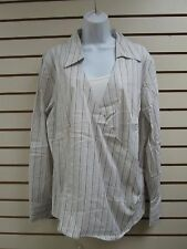 DIALOGUE PALE GRAY STRIPE BLOUSE WITH IVORY TANK (2 PIECE) XL - NEW WITH TAGS