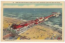 AIRPLANE VIEW Steel Pier ATLANTIC CITY  NEW JERSEY Linen POSTCARD Aerial Texaco