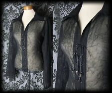 Gothic Black Sheer Lace Up MISTRESS Wide Sleeve Blouse 16 18 Victorian Vintage