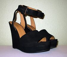 WOMENS BLACK SUEDE LTHR NINE WEST PLATFORM WEDGE SANDALS US 10.5 EU 40.5 41 41.5