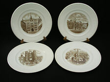 """(4) WEDGWOOD (EDINE)  OLD LONDON VIEWS - 10.5"""" PLATES - FIRST EDITION 1941 BROWN"""