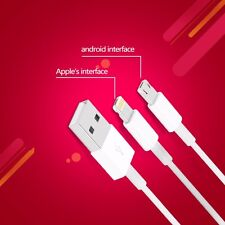 Portable Dual 2 In 1 (8 Pin Lightning + Micro USB) Data Charging Cable for Phone