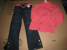 NWT BABY GAP GIRLS BRYANT PARK LEOPARD BELT JEANS & SHIRT SET OUTFIT SIZE 5