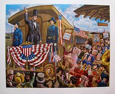 Lee Dubin Hand Signed Lithograph President Abraham Lincoln Goes to Washington