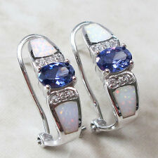 PRECIOUS 1 CT TANZANITE WHITE OPAL 925 STERLING SILVER FRENCH CLIP EARRINGS