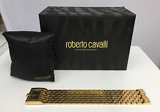 ROBERTO CAVALLI WATCH NIB CLEAVAGE GOLD BROWN DIAL BRACELET