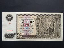 Slovakia 1000 Korun P13s Perforated Specimen Dated 1940 Uncirculated UNC