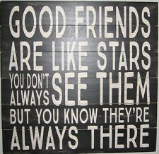 "Good Friends Sign Large Wooden Wall Plaque Made in USA 12""x12"""