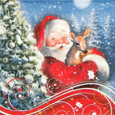 4x Single Lunch Party Paper Napkins for Decoupage Decopatch Craft Santa's Bambi