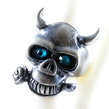 RING ghost SKULL monster pirate silver argent gray solid LARGE ONE SIZE blue