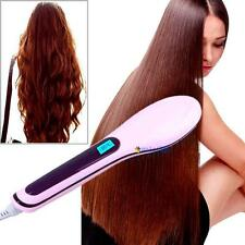 Professional Hair Straightener Comb Brush LCD Display Electric Heating Iron A MT