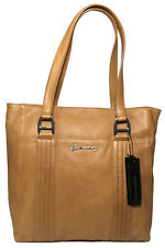 NWT B. Makowsky Hazelnut Quilted N/S Tote Bag Leather Silver Ornaments BM42345