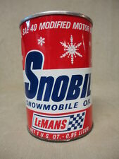 LeMans High Performance Engine Snobil Snowmobile Oil Quart Metal Can Qt Empty