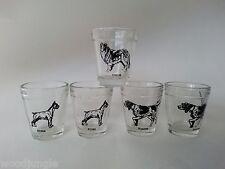 Vintage   5 HAZEL ATLAS GLASS SHOT GLASSES DOGS BOXER POINTER COLLIE LASSIE