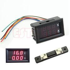 Dual Digital Voltmeter Ammeter Red LED Amp Volt Meter DC 100V 50A +Current Shunt