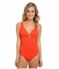 Michael Kors Logo Ring Shirred Maillot One-Piece Sz 4 Grenadine