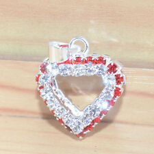 Fashion Jewelry Charms Red & Clear Crystal Silver Plated Heart Women's Pendants