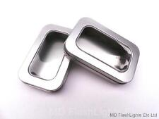 2 x MINI SILVER HINGED STORAGE TINS WITH VIEWING WINDOW BUSHCRAFT SURVIVAL
