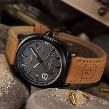 CURREN Men's Luxury Brown Leather Strap Quartz Sport Army Analog Wrist Watch