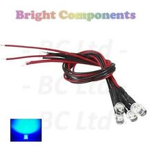 10 x Pre-Wired Blue LED 5mm Flat Top : 9V ~ 12V : 1st CLASS POST