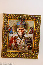 ST NICHOLAS  Николай RUSSIAN ICON IN FRAME 10x12CM  TRAVEL PROTECTION
