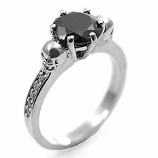 9ct Gold 2ct Round Cut Black Diamond-Unique Skull Ring with Accents (266)