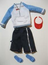 Barbie Ken DOLL Clothes-GUY TIME Fashions PULLOVER shirt/SHORTS/BLUE SANDALS SET