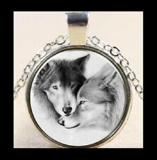 NEW - ANTIQUE SILVER WOLVES GLASS OPTIC BLACK & WHITE PICTURE PENDANT NECKLACE