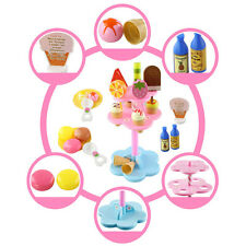 Food Pretend Toy Kids Play Set Sweet Treats Ice Cream and Dessert Tower Colorful