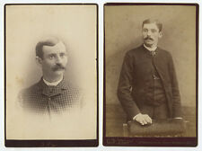 SET OF 2 CAB PHOTOS/PORTRAITS MEN W/ MUSTACHES, MINNEAPOLIS, MN   LOCKPORT, NY