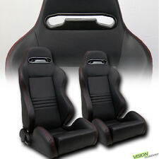 T-R Sport Black PVC Leather/Red Stitches Racing Bucket Seats w/Sliders Pair V04