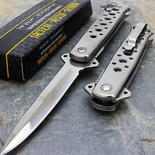 "7"" TAC FORCE SILVER STILETTO FOLDING TACTICAL KNIFE Blade Pocket Open"