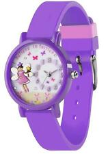 TIKKERS GIRLS STUNNING FAIRY/FLOWERS PATTERN LILAC SILICONE STRAP WATCH - TK0075