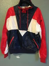 NIKE RED WHITE BLUE LINED RUNNING SWEATSUIT JACKET, PANTS, NYLON, COTTON, L VTG