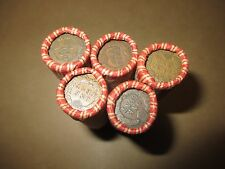 5 MIXED WHEAT INDIAN HEAD PENNY SHOTGUN ROLLS WITH INDIAN CENT END!  COIN LOT X3