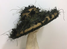 KOKIN HAT NWT STRAW AND OSTRICH FEATHERS BOLD GLAMOROUS & DRAMATIC