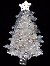 SILVER HAMMER AB OPAQUE BEAD MOVABLE DANGLING CHRISTMAS TREE PIN BROOCH JEWELRY