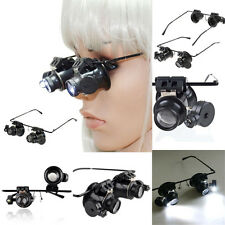 20x Magnifying Eye Magnifier Glasses Loupe Jeweler Watch Repair Lens LED Light