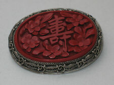ANTIQUE CHINESE SILVER BROOCH CINNABAR CHINALACK wunderful RARE Flowers