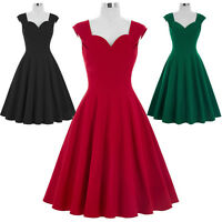 40's 50's Vintage Style Flared Prom Cocktail Swing Dress Retro Housewife Party