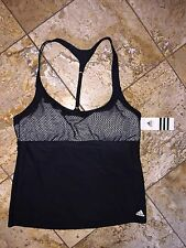 NWT Adidas Black Racerback Tankini Swimsuit Mesh Net Sports Bra Top Women's 12