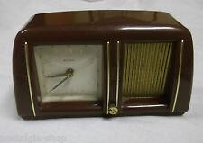 50er Uhr Wecker Estyma mit Spieluhr Bakelit rotbraun Handaufzug clock 50s  rare