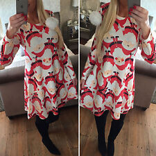 Lady Women Santa XMAS Christmas Print Skater Mini Swing Dress Top Plus Size 6-16
