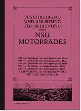 NSU Einzylinder-Modelle (250, 300, 500 ccm) SV OHV Bedienungsanleitung Handbuch